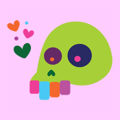 colorful rainbow indie skull